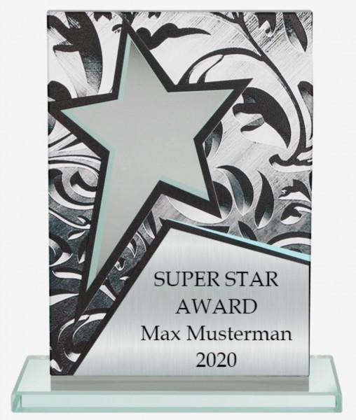 Glastrophäe Super Star mit 3D-Effekt inkl. Gravur