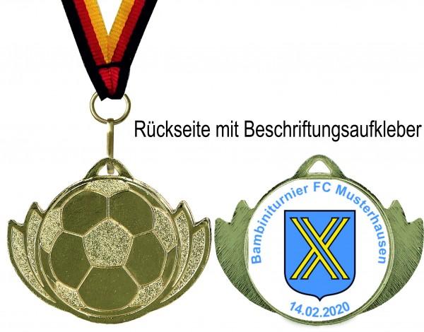Kleine Fußball-Medaille MMC2838 inkl. Band und Beschriftung