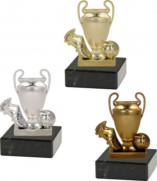 """Fußballständer 2D """"Schuh-Pokal-Ball"""" 10 cm inkl. Beschriftung"""