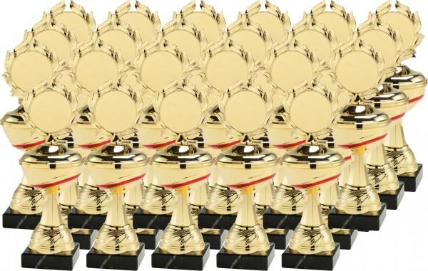 12x 3er Serie Pokale Set-02-GR-36 inkl. Beschriftung und Emblem