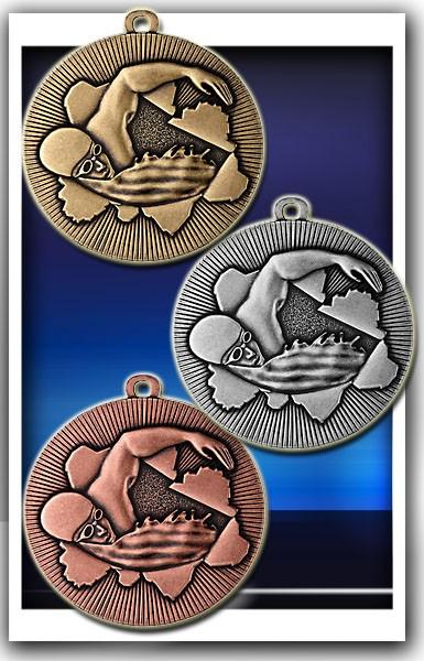 Schwimm-Medaille D50C inkl. Band und Beschriftung
