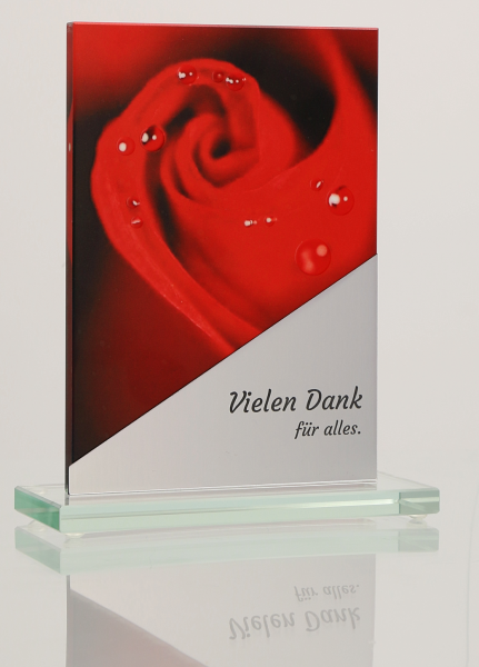Glastrophäe Rose mit 3D-Effekt inkl. Gravur