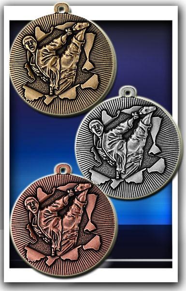Judo-Medaille D50F inkl. Band und Beschriftung