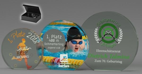 Glasständer B349 inkl.UV-Direktdruck und Geschkbox
