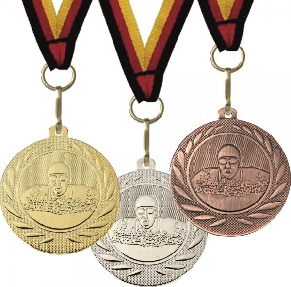 Schwimm-Medaille DI5000H inkl. Band und Beschriftung