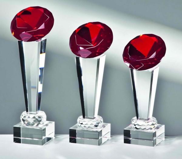 Glas-Diamant-Trophäe Rot inkl. Emblem und Gravur