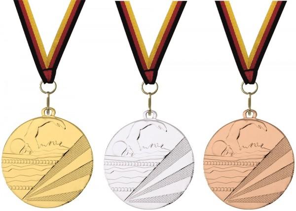 Schwimm-Medaille D112C inkl. Band und Beschriftung