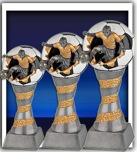 3er Serie Fußballpokalle in 3D Optik inkl. Gravur