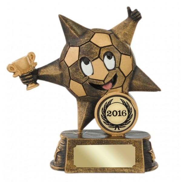 Fußball-Stern inkl. Emblem mit Jahreszahl und Gravur