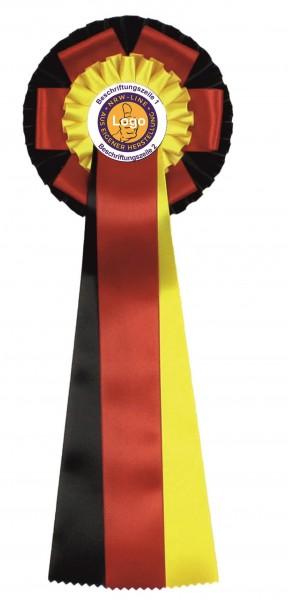 Turnierschleife mit Emblem nach Vorlage