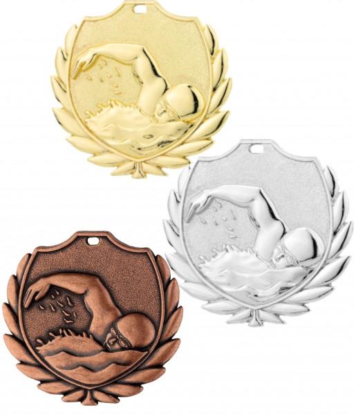 Schwimm-Medaille D77C inkl. Band und Beschriftung