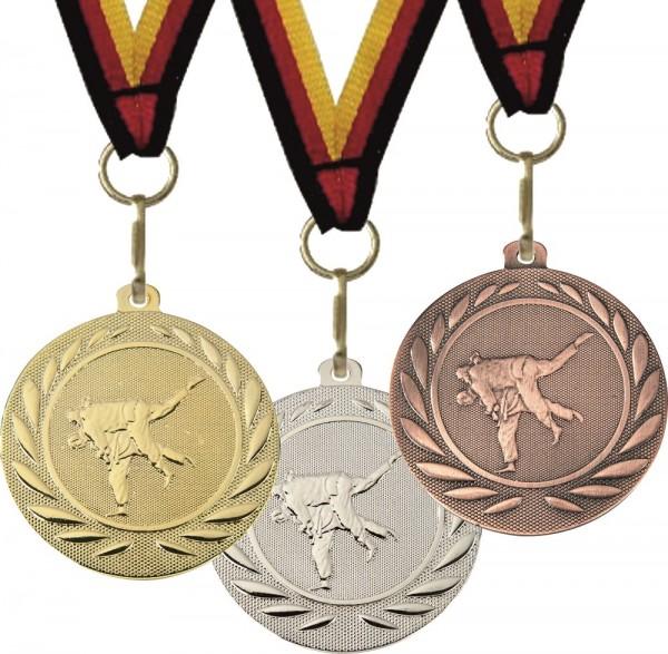 Judo-Medaille DI5000G inkl. Band und Beschriftung