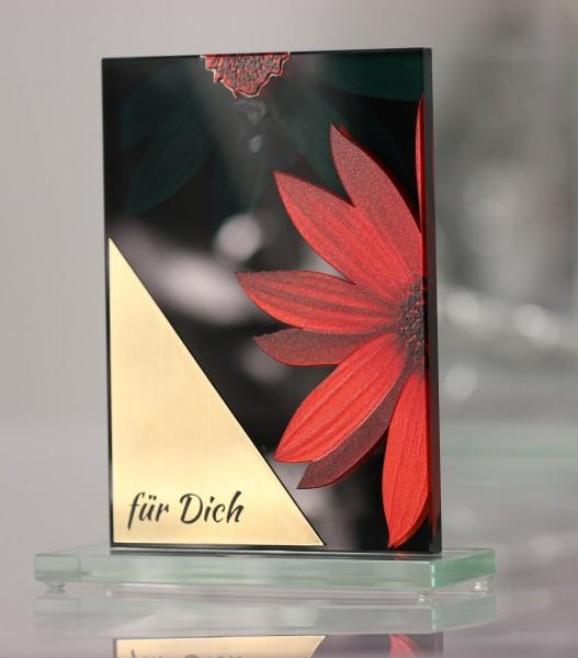 Glastrophäe Blume mit 3D-Effekt inkl. Gravur